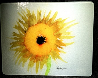 Glass Cutting Board Large - Sunflower - 12 in  x 15 in