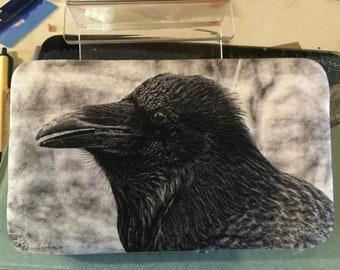 Flat Wallet Raven - 7 3/16 x 4 1/2 in