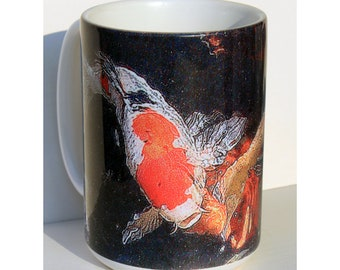 Koi Art Large Coffee Mug 15 oz