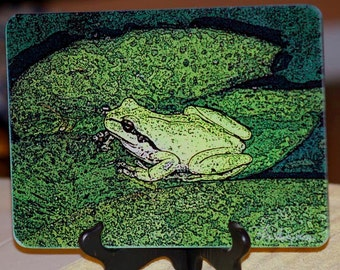 Froggy - Glass Cutting Board - 7.75in  x 10.75in