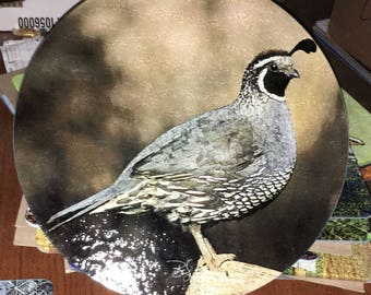 Quail - Round Glass Cutting Board, Cheese Board or Trivet -  12 in diameter