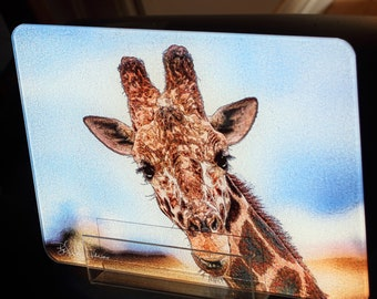 Glass Cutting Board - Giraffe 7.75in  x 10.75in