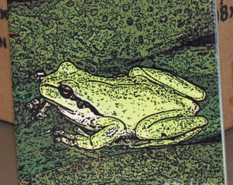 "Ceramic Tile or Coaster - Froggy 4.25"" x 4.25"""