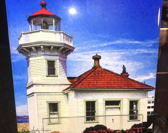 Decorative Tile - Mukilteo Lighthouse 8 in x 8 in