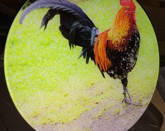 Banty Rooster - Large Round Glass Cutting Board - 12 in diameter