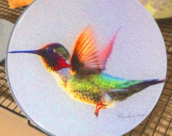 Anna's Hummingbird Flying Round Glass Cutting Board  -  8 inch
