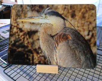 Glass Cutting Board - Blue Heron  7.75in  x 10.75in
