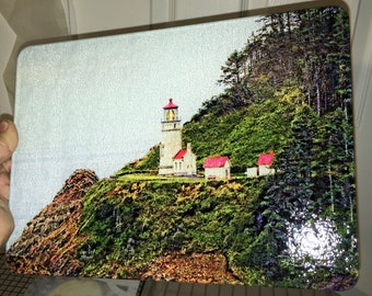 Heceta Head Light - Horizontal -  Glass Cutting Board 7.75in  x 10.75in