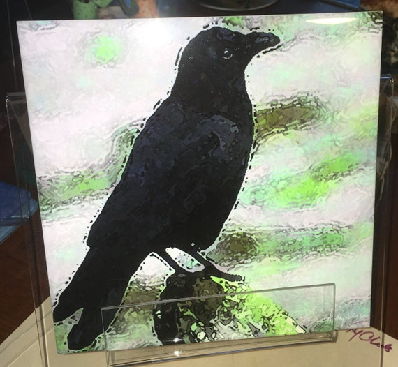 Decorative Tile Crow 8 In X 8 In Etsy