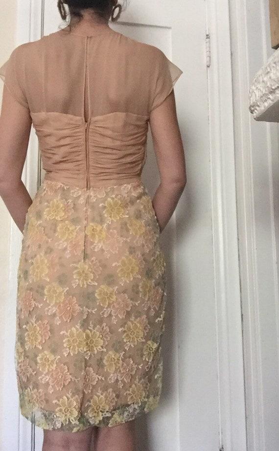 50's Chiffon Illusion Dress with Pastel Lace - image 2