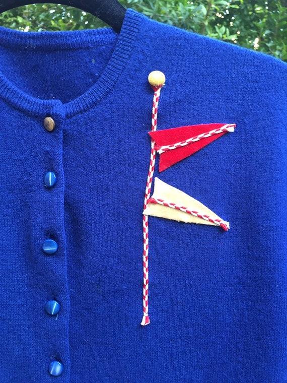 50's Nautical Themed Cardigan - image 7