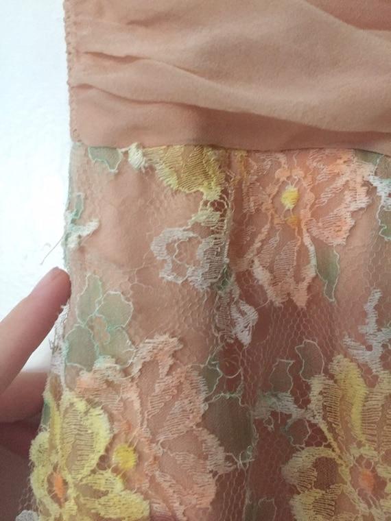 50's Chiffon Illusion Dress with Pastel Lace - image 7