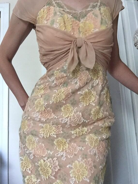 50's Chiffon Illusion Dress with Pastel Lace - image 4