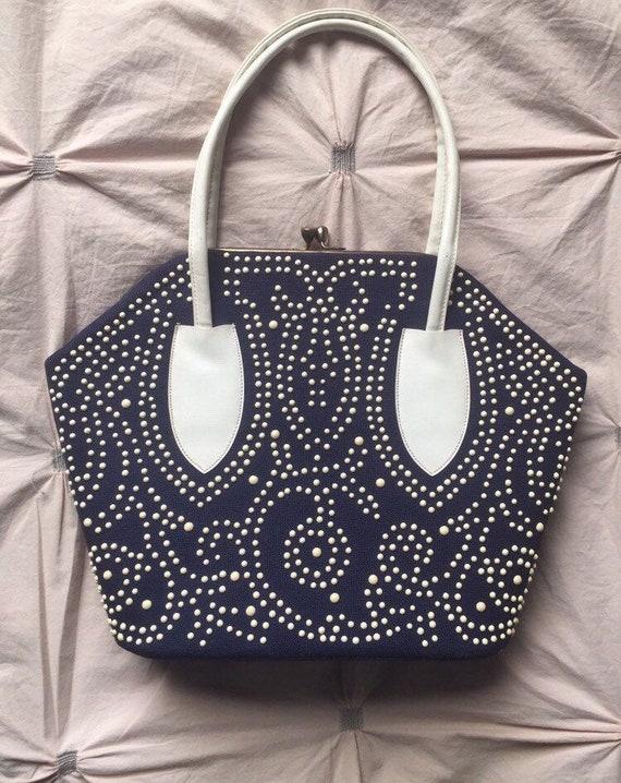 Fab 60's Navy & White Candy Beaded Handbag