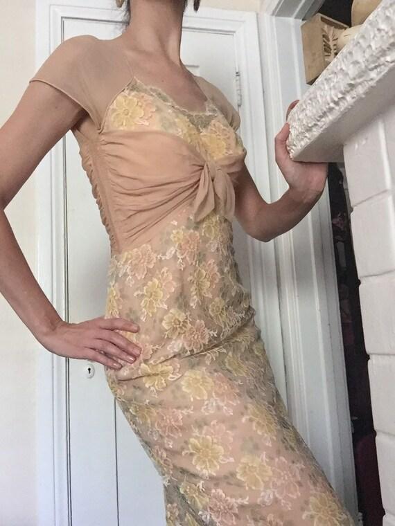 50's Chiffon Illusion Dress with Pastel Lace - image 5