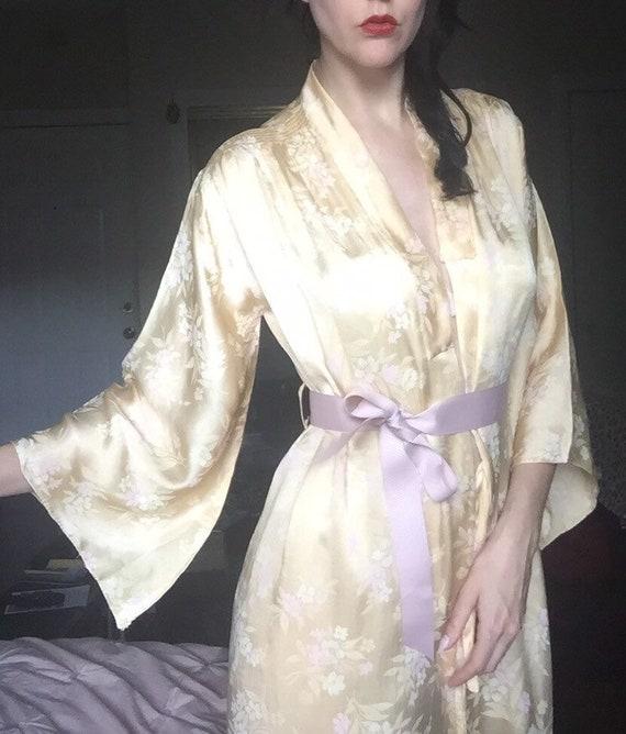 30's Floral Silk Satin Kimono-Inspired Robe