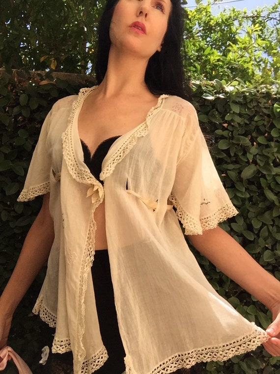 20's Lawn Bed Jacket with Laced Ribbon Waist