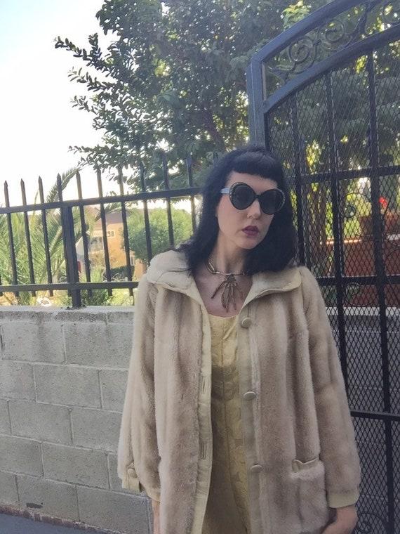 60's Lilli Ann Faux Fur Jacket with Suede Trim