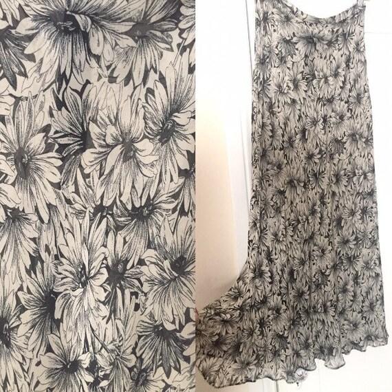 90's Betsey Johnson Black & White Floral Chiffon … - image 1
