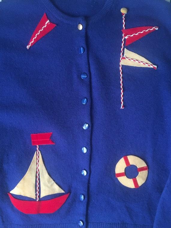 50's Nautical Themed Cardigan - image 5