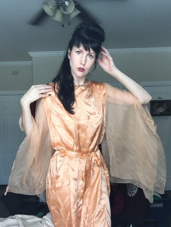 30's Silk Satin Boudoir Gown with Chiffon Angel Sl