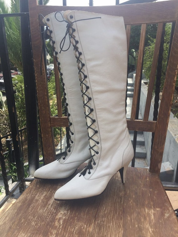 80's White Leather Tall Granny Boots by Sacha Lond
