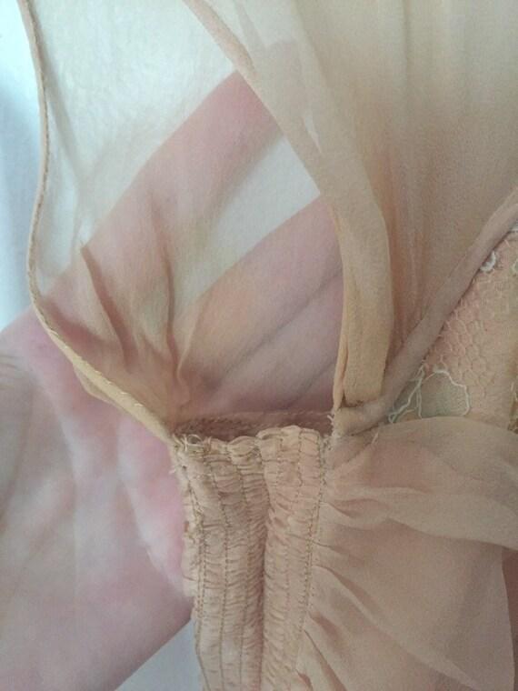 50's Chiffon Illusion Dress with Pastel Lace - image 10