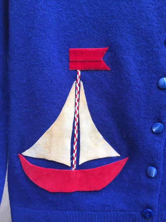 50's Nautical Themed Cardigan - image 6