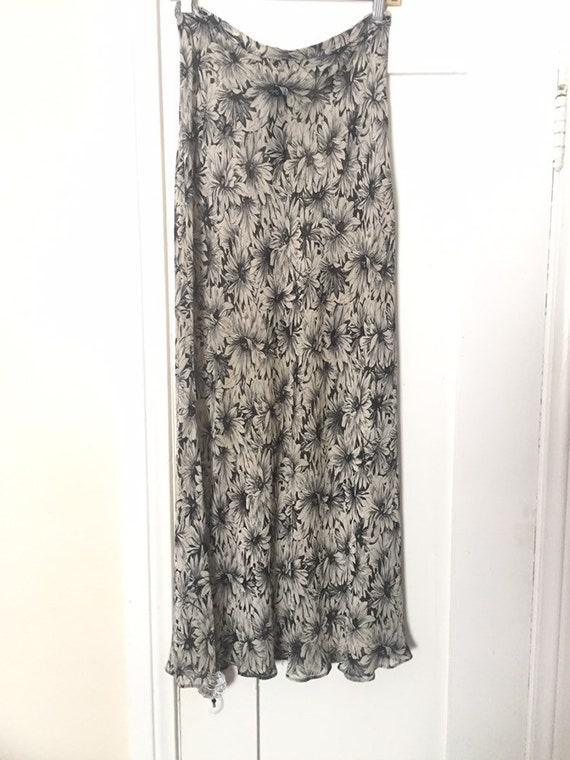 90's Betsey Johnson Black & White Floral Chiffon … - image 2