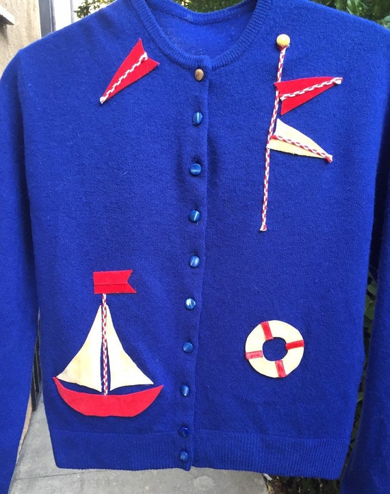 50's Nautical Themed Cardigan