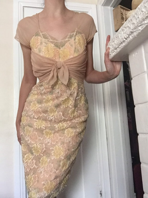 50's Chiffon Illusion Dress with Pastel Lace - image 1