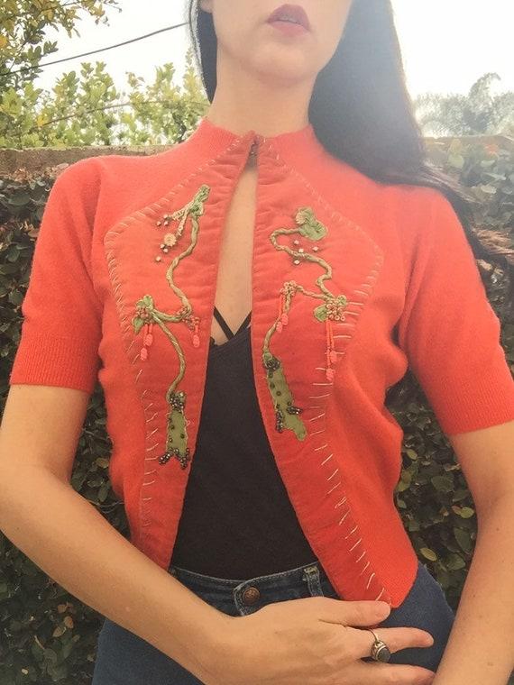 50's Coral Cardigan with 30's Beaded Velvet Appliq