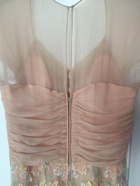 50's Chiffon Illusion Dress with Pastel Lace - image 6