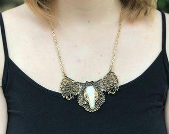 Ornate Bat Skull Filagree Necklace