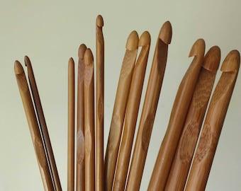 New 12pcs Bamboo Wood Crochet Hooks,Weave Craft ,Crocheted Tools,Size 3-10mm