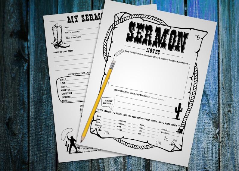 Children's Cowboy Sermon Notes  PDF printable  Worksheet  Scripture   Lesson  Instant download