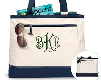 5930d4e1aa Zippered Boater Tote Monogrammed