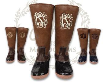 cad821a03de3 Ladies Duck Boots Monogrammed, Tall Duck Boots, Personalized Duck Boots,  Embroidered Duck Boots, Knee High Duck Boots, Waterproof Duck Boots