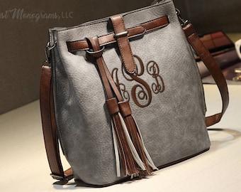 Monogram Bucket Purse Vintage Tassel Crossbody Messenger Bag, Large Retro Shoulder Bag, Bucket Purse Tote Bag, Purse With Tassels