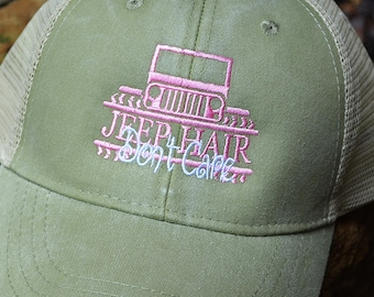 Hair Don't Care Hat, Distressed Trucker Hat, Baseball Caps, Monogram Trucker Hat, Trucker Hat, Trucker Cap, Distressed Baseball Cap