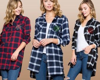 da4ea42d66 Monogram Plaid Long Sleeve Button-Down Tunic Shirts