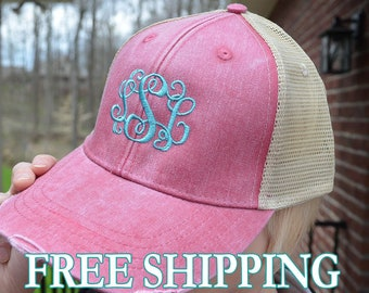 Distressed Trucker Hat Monogram  a548aa4e5302