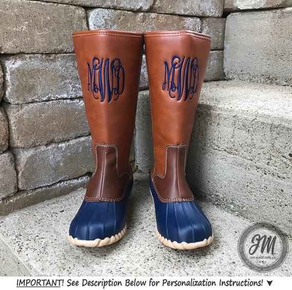 83fd153463132 IN STOCK! Monogram Tall Duck Boots, Monogrammed Tall Duck Boots,  Personalized Duck Boots, Preppy Duck Boots, Matte Finish Duck Boots