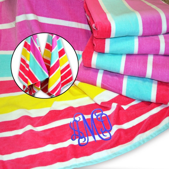 Personalized Striped Cabana Beach Towel Pool Towel Embroidered Name 4 Colors