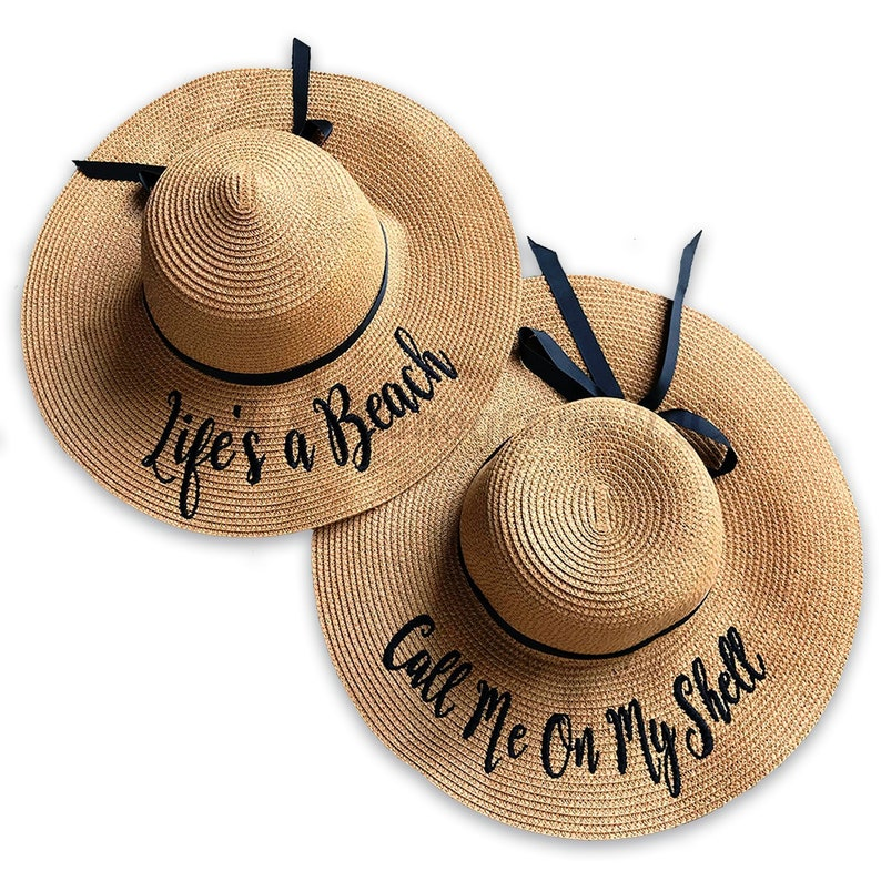 6a8b948c FLOPPY SUN HATS Personalized Beach Floppy Hat Straw Hat | Etsy