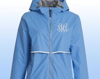 Periwinkle Monogram Rain Jacket, Charles River Periwinkle Rain Coat, Rain Coat, Monogram Charles Rivers Rain Jacket, Monogram Rain Jacket