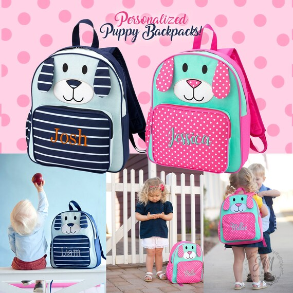 Kids Personalized Puppy Backpack Embroidered Back to School  a531897ad2902