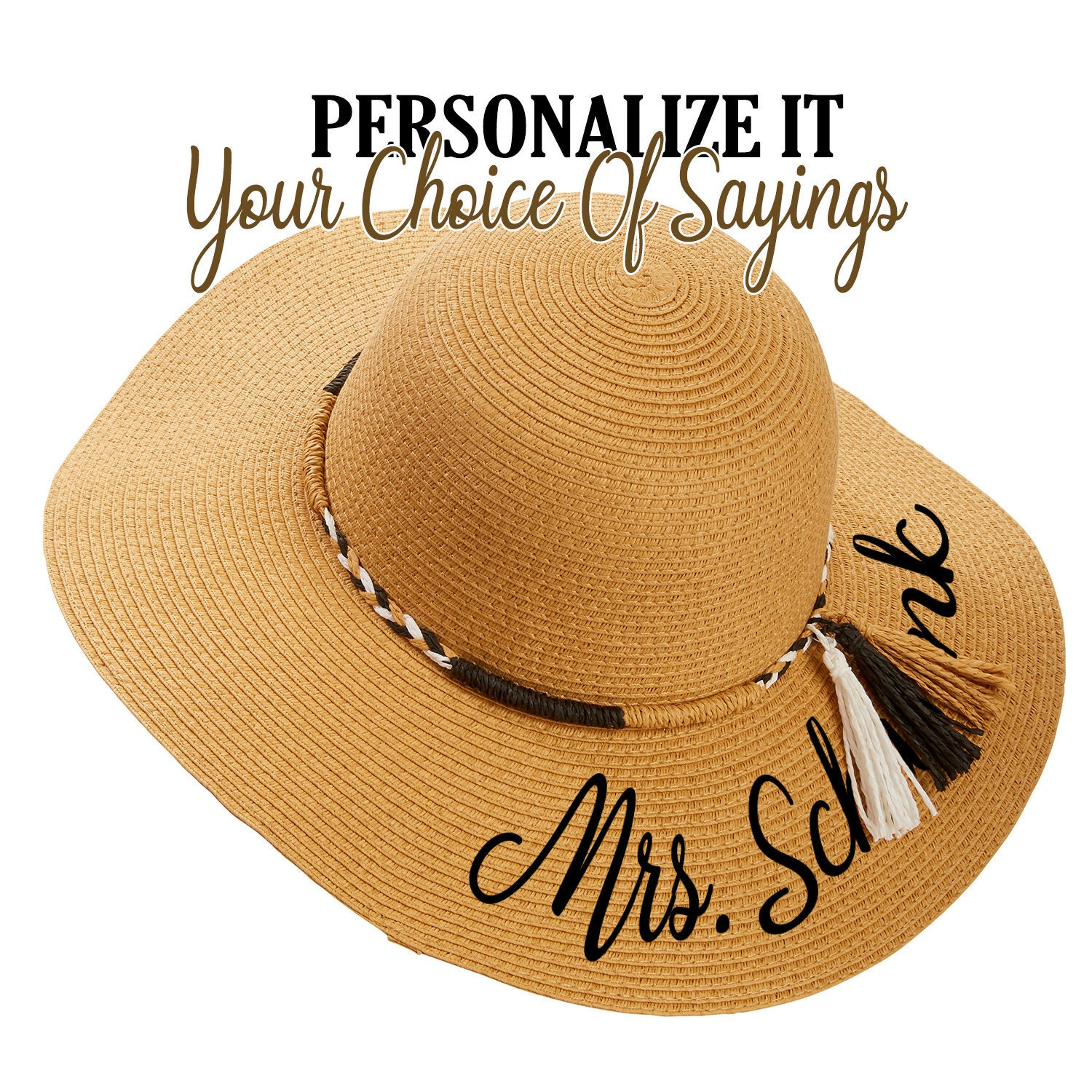27ddbc694 TASSEL BAND Floppy Hat Floppy Straw Hats Personalized With Your Saying,  Straw Beach Pool Hats Monogrammed, Embroidered Wedding Hats