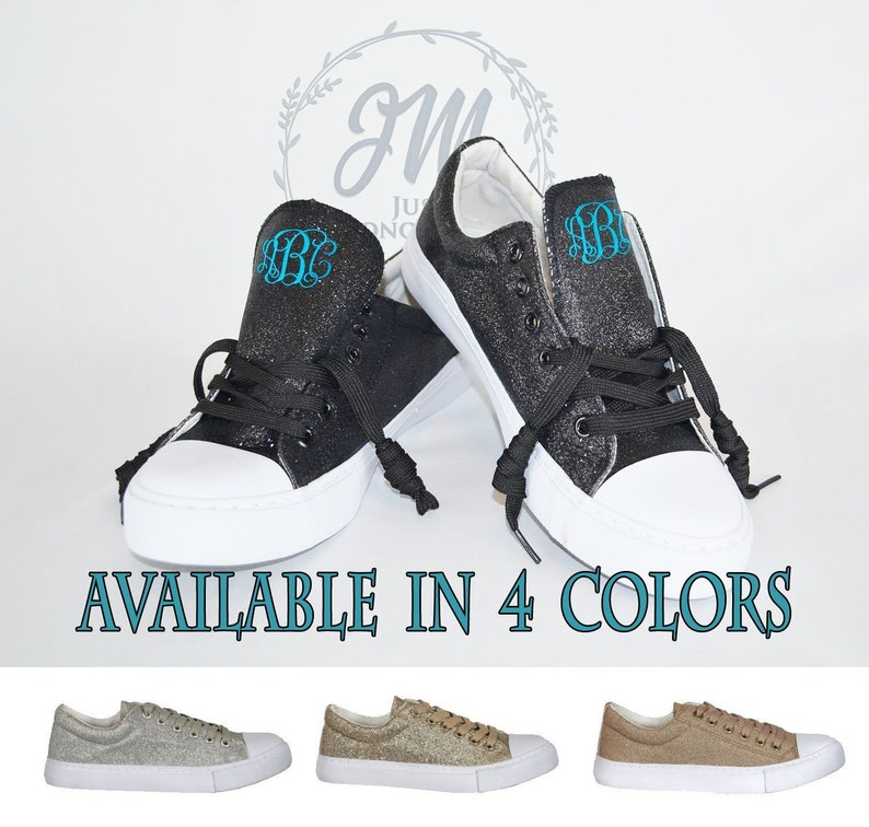 73a6553c68f GLITTER SNEAKERS Monogrammed Glitter Bomb Tennis Shoes