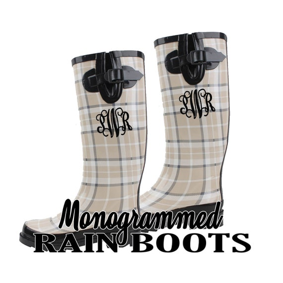 a334f5865d815 BLACK BEIGE Rain Boots Monogrammed, Monogram Women's Rain Boots With Bows,  Wellies, Lace Back Rain Boots, Rubber Boots Personalized